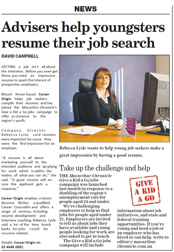 Career Origin Newspaper Article